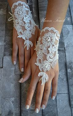 ivory wedding glove Bridal Glove ivory lace cuffs by UnionTouch