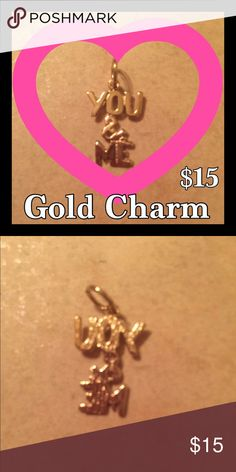 """❤❤VALENTINES DAY SALE❤❤ Gold Charm """"YOU & ME"""" Gold Plated Charm Measures 3/4"""" X 1/2"""".  Necklace Not Included. I Have Had This Charm For Over 20 Years, Gold Plating Shows No Signs Of Wear!!!  Looks Like The Day I Bought It!!! Jewelry Necklaces"""