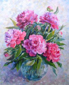 Pink Peonies bouqet Original painting oil 14 * 20 in Pionies painting oil canvas Peony painting