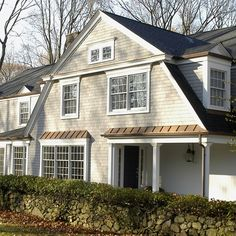"""The siding is Maibec pre-finished White Cedar shingles, color is """"Seacoast The trim is Ben Moore """"Brilliant White"""". the roof shingles are Certainteed Landmark """"Pewterwood"""". Craftsman Exterior, Exterior Siding, Exterior Houses, House Exteriors, Craftsman Style, House Siding, House Roof, Shingle Colors, Siding Colors"""
