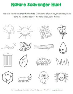 Nature Scavenger Hunt Printables for Kids Preschool Scavenger Hunt, Nature Scavenger Hunts, Early Learning Activities, Toddler Activities, Preschool Garden, Garden Kids, Fun Experiments For Kids, Nature Hunt, Teacher Inspiration