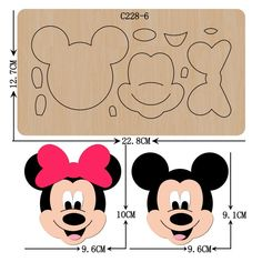 Theme Mickey, Mickey Mouse Birthday, Mickey Minnie Mouse, Felt Patterns, Craft Patterns, Canvas Patterns, Felt Crafts, Paper Crafts, Bow Wood