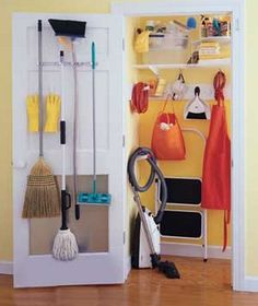 One of my current projects -- a dedicated cleaning closet located within my pantry. Naturally, mine won't look exactly like this due to space arrangements and color choices (the yellow is actually kindof awesome, but not for me).