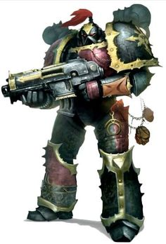 A Chaos Space Marine of the Children of Torment, dedicated to the service of Slaanesh.