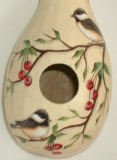 Chickadee with Red Cherries Gourd Birdhouse  by FromGramsHouse,