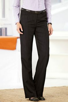 As seen in the Sept. edition of Woman's World: Diane Tummy-control Bootcut Pants Seersucker Pants, Tall Pants, Professional Wear, Dress Slacks, Business Attire, Fashion Plates, Classic Looks, Personal Style, Pants For Women