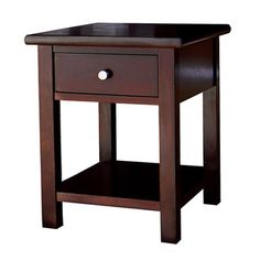 @Overstock - This Austin birch wood end table is perfect for any area that needs an extra piece for storing your belongings. Features a beautiful dark birch finish, one pull-out drawer, and satin nickel finished handles.http://www.overstock.com/Home-Garden/Austin-Dark-Birch-End-Table-with-1-Drawer/6444134/product.html?CID=214117 $107.99