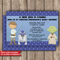 Jedi Baby Shower Star Wars Party Invitations Printed or Digital FREE SHIPPING 4 Colors