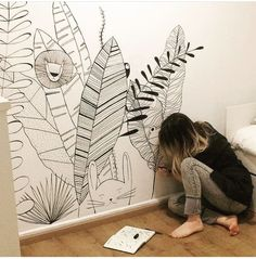 Kinderzimmer Paint wall Using Concrete for Interior Applications Concrete is an extraordinary materi House Drawing For Kids, Dream House Drawing, Wall Painting Decor, Wall Decor, Mural Art, Wall Murals, Wall Drawing, Inspiration Wall, Baby Boy Rooms