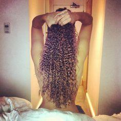 Long naturally curly hair