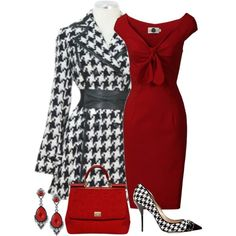 """""""houndstooth!"""" by divacrafts on Polyvore. I could never pull this off, but I love it."""