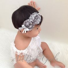 Gray Silver Flowers with Bow and Pearl Baby by AllBabyGirls, $11.97