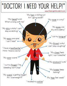 English Health Vocabulary List and Dialogues / Неформальный Английский English Fun, English Tips, English Writing, English Study, English Words, English Lessons, English Grammar, Learn English, English Resources