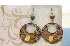 Copper Jeweled Earrings by KaliKJewelry on Etsy, $10.00