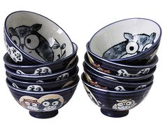 Dark blue Lucky Owl rice bowls, set of ten.