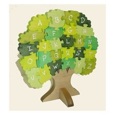 This puzzle was awarded Dr. Toys best picks of 2009. Help children learn their ABCs with this unique educational 3D puzzle of a tree. Wooden puzzles make great gifts for children. This one is particularly good for kids because it teaches them the alphabet - all 26 letters. This wooden 3d puzzle has large bushy pieces which are great for tiny hands to grip.The puzzle contains 28 pieces and measures 10.5 x 8.5 x 1. Only the finest quality wood was used when handcrafting this puzzle. This…