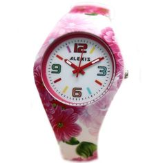 FW922F PNP Shiny Silver Watchcase Silicone Pink Band Unisex ALEXIS Fashion Watch