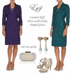 Eliza J Mother of the Bride two piece dress and bolero outfits in purple and green, cocktail dresses, occasion-wear wedding guest outfits