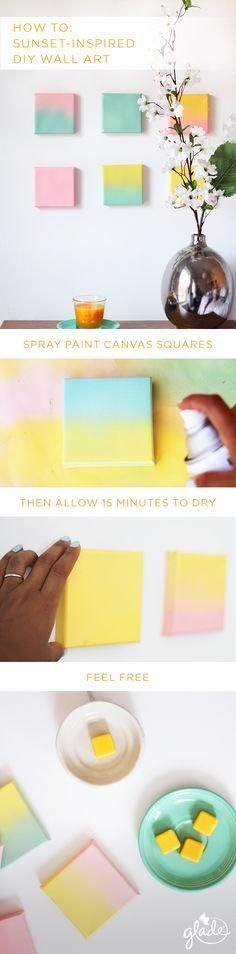 Take the wow factor of a summer sunset and bring it straight to your living room with this DIY wall art dcor. All you need is 15 minutes, four canvas squares, & pastel spray paint.