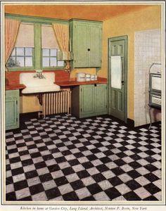 European Decor, Green Cabinets, Wood Counter, Farmhouse Sink Kitchen, Kitchen Inspiration, Vintage Kitchen, Color Schemes, Kitchens, House Design