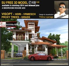 Vray Tutorials, Sketchup Free, Sketch Photoshop, 4 Bedroom House, 3d Design, Architects, Models, Mansions, House Styles