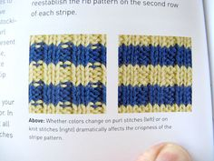 The trick is, if you're knitting stripes and ribbing at the same time, to knit every stitch the first row, then go back to the ribbing on subsequent rows.Ta da!No dashes mucking up your stripey stripes.
