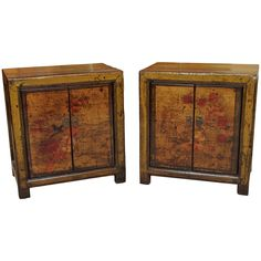 Pair Antique Chinese Lacquer Bedside Cabinets | From a unique collection of antique and modern night stands at https://www.1stdibs.com/furniture/tables/night-stands/