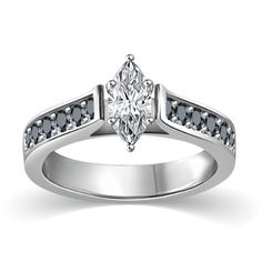3/4 ct tw White & Black Marquise Cut Diamond Cathedral Accent Engagement Ring 14K White Gold	by Glitz Design