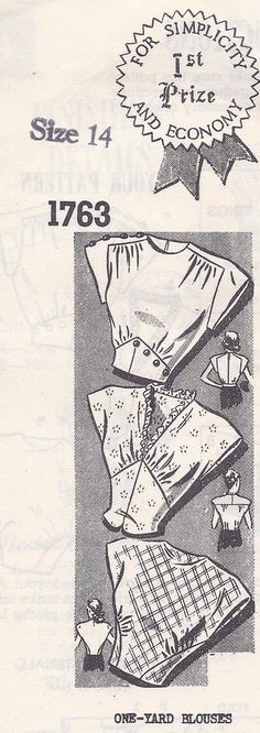 Vintage Sewing Pattern Women's One Yard Blouse. Love the dart placement