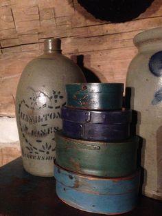 Old Salt Glazed Crocks...and painted boxes.