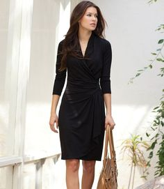 Black Cascade Wrap Dress