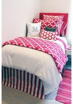 Bold Hot Pink Designer Teen & Dorm Bed in a Bag | Teen Girl Dorm Room Bedding New Release! Team with bold black.. for room mate!