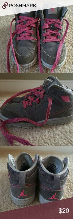 Retro 1 Jordans Girls preschool size 12c. Denim like dark grey material with pink laces and detail. Good condition with some discoloration to Denim like material and loose threading. Please look over pictures thoroughly before purchasing. Jordan Shoes Sneakers