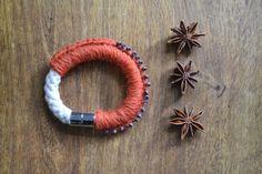 Rope bracelet tribal jewelry orange wool bracelet by Loulalalou