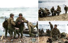 Medics from the US 5th and 6th Engineer Special Brigade (ESB) help wounded soldiers on Omaha beach, Fox Green and Easy Red sectors. Survivors of sunken landing craft who reached the beach by using a life raft are recovered by other troops, . June 7th, 1944, D-Day. (Also reported as being taken on the 6th June) In the photo at bottom right, is 1st.Lieutenant Walter Sidlowski of the 348th Combat Battalion,