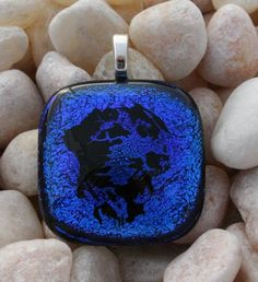 Dog Remembrance Necklace fused with Pet Ashes by addicted2glassfusion.artfire.com