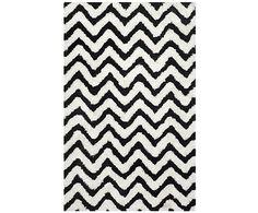 Tappeto in fibra di cotone Delhi bianco/nero - 152x243 cm