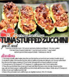 Tuna stuffed zucchini.  I added 1 pouch of Lipton Onion mix instead of a fresh onion and also added fresh basil.