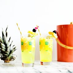 Yay for pineapple lime tequila coolers in my favorite pineapple glasses  made with @patron & @lacroixwater #