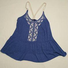 Emroidered Peplum Top Blue jersey knit peplum top Rue 21 Tops Tank Tops