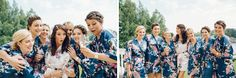 Funny bridesmaids photos, floral bridesmaids robes, champagne on the wedding day | Stockholm Archipelago Wedding