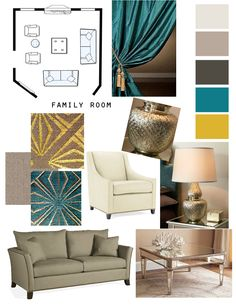 Family Room.  Neutral seating with bold turquoise and gold accents.   Metallic threads in the pillows, pulled together with metallic lamp and a mirrored coffee table.