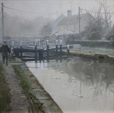 Morning Mist by British Contemporary Artist John Lines John Works, Industrial Artwork, Leave Art, Line Artist, Inspirational Artwork, Contemporary Paintings, Mists, Countryside, Art Gallery
