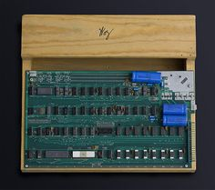 Apple-1: Steve Wozniak debuted the prototype Apple-1 at the Homebrew Computer Club in 1976. For $666.66, buyers received a blank printed circuit board, parts kit, and 16-page assembly manual. One had to add a power supply, keyboard, storage system, and display.
