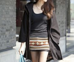 Women Large Black Loose hooded woolen cloth coat Wool coat  winter coat Hood cloak woolen cloth coat Hooded Cape/clothing /jacket. $52.90, via Etsy.