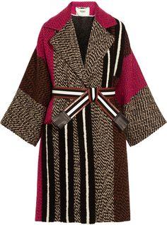 Fendi Patchwork Wool-Blend Bouclé Coat