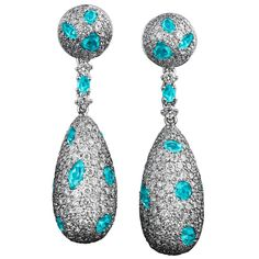 Paraiba Tourmaline Diamond Platinum Drop Earrings