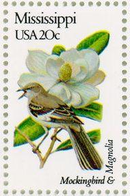 Mississippi 20 cent Mockingbird (state bird) and Magnolia (state flower) stamp