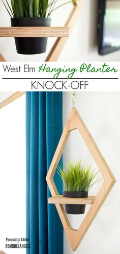 Build a diamond shaped West Elm style modern hanging planter for a fraction of the price! Easy DIY tutorial and printable building plan.