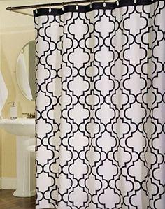 Max Studio Home 100 Percent Cotton Shower Curtain Moroccan Tile Quatrefoil White Navy Blue Lattice